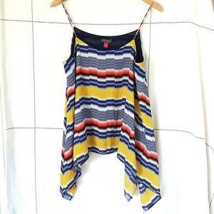 Vince Camuto Multicolor Stripe Asymmetrical Top M